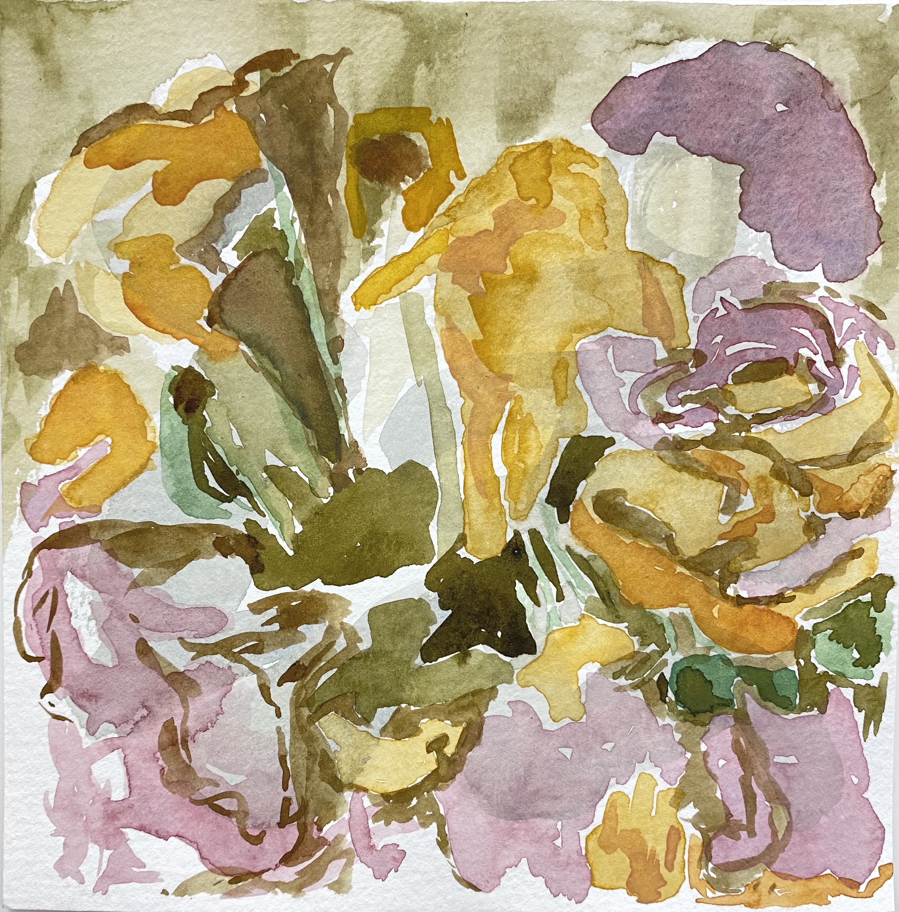 untitled (centre of plant life) watercolour by Canadian painter Barbra Edwards, Pender Island, BC