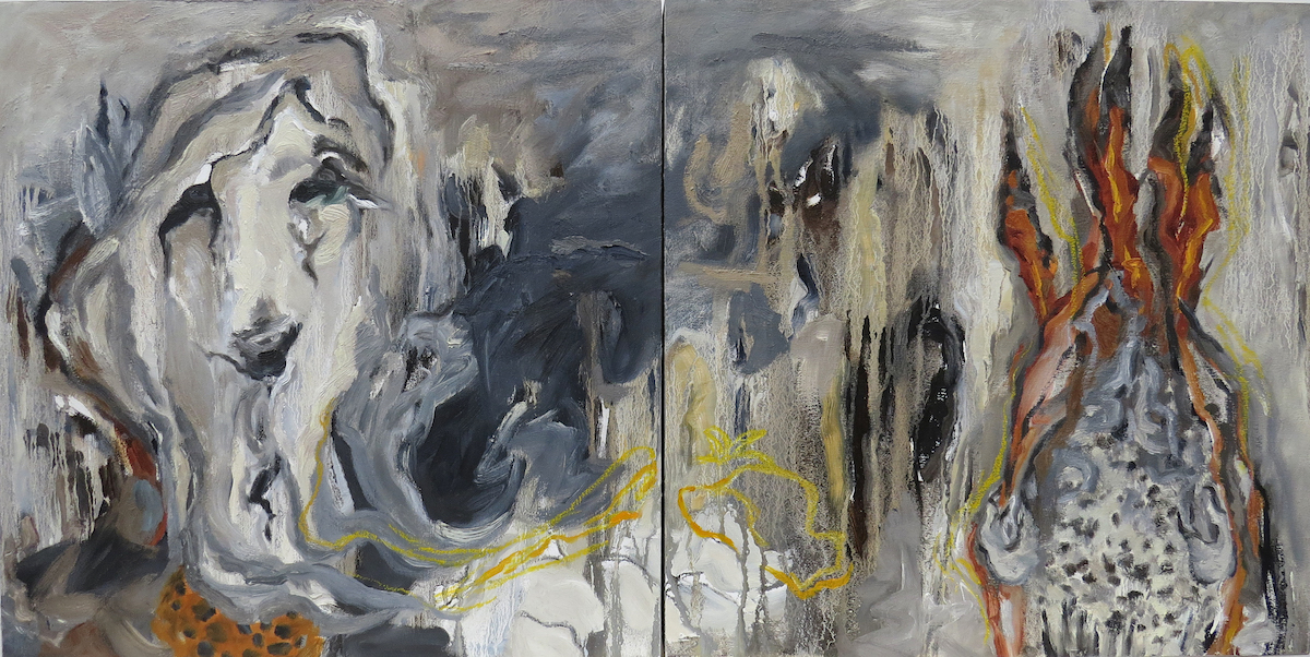 you, me, me and you (2), oil painting, diptych, Canadian abstract painter barbra edwards, Gulf Islands, BC