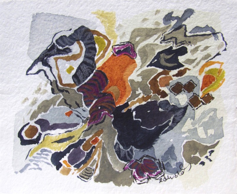 beach series 6, watercolour, gouache, ink, crayon, Canadian contemporary artist Barbra Edwards