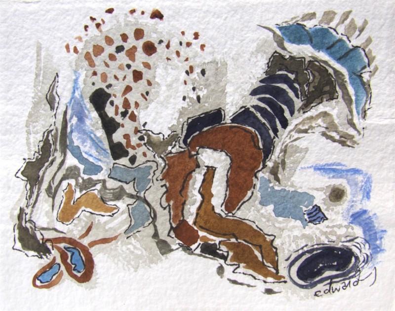 action and reaction , watercolour, gouache, ink, crayon, Canadian contemporary artist Barbra Edwards
