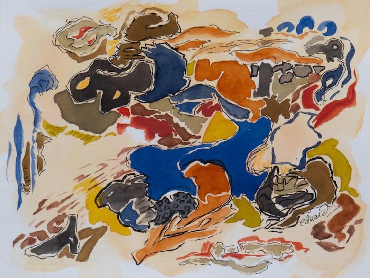 detritus (4) gouache, mixed media, contemporary art by Canadian artist Barbra Edwards Pender Island BC