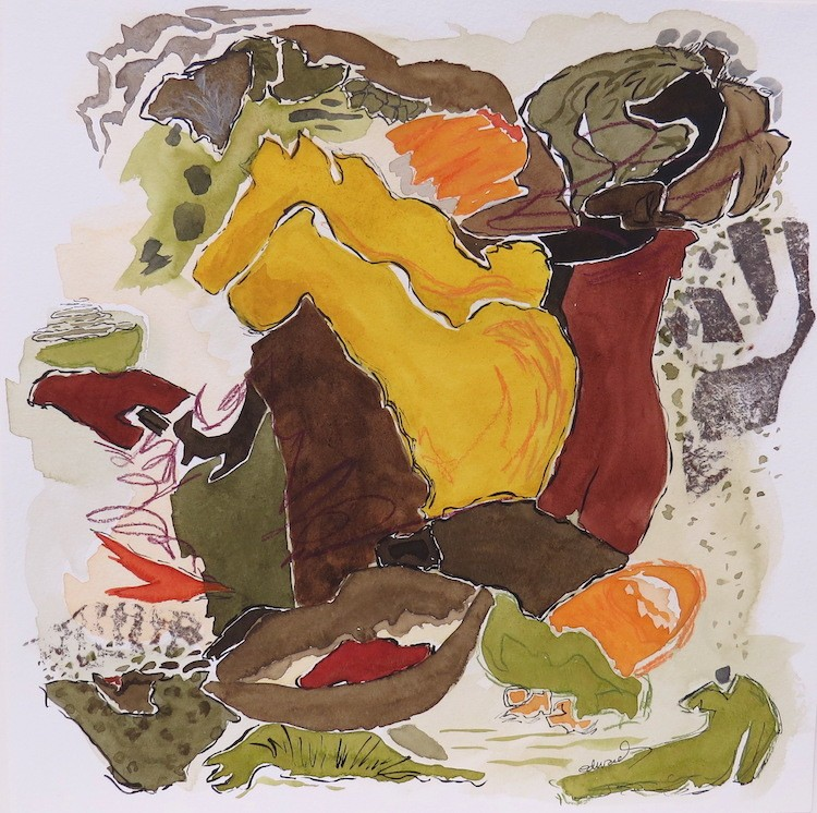 water's edge (2) work on paper by Canadian contemporary artist Barbra Edwards, Gulf Islands, BC