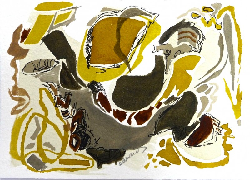 Leaf Decoded, watercolour by Canadian abstract artist Barbra Edwards, Gulf Islands, BC