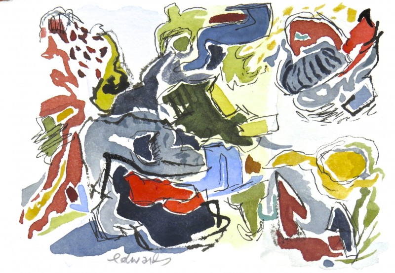 beach 2, watercolour by Canadian abstract artist Barbra Edwards, Gulf Islands, BC