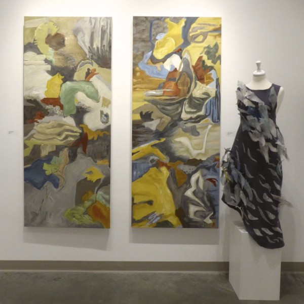 Nature Totems 1 and 2, SHIFT exhibition Seymour Art Gallery, Canadian contemporary artist Barbra Edwards, Gulf Islands