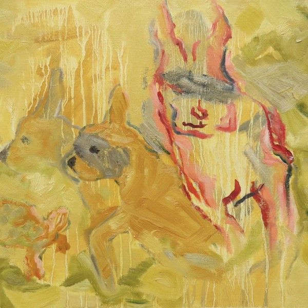tortoise, hare and friends, oil painting on panel by contemporary painter barbra edwards, Pender Island, BC