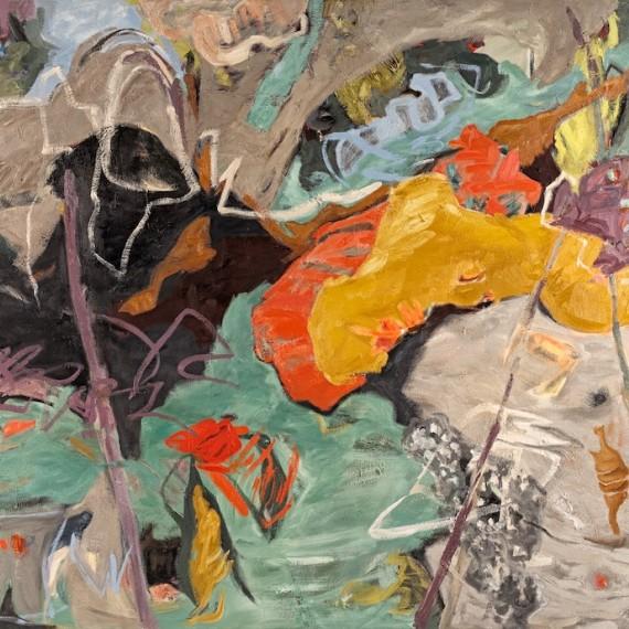 grey rhythm, oil painting by Pender Island artist barbra edwards