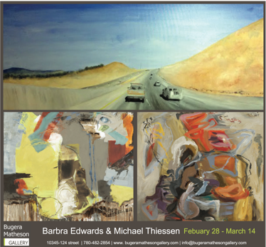 Canadian contemporary artist Barbra Edwards, show opening at Bugera Matheson Gallery, Edmonton, Alberta