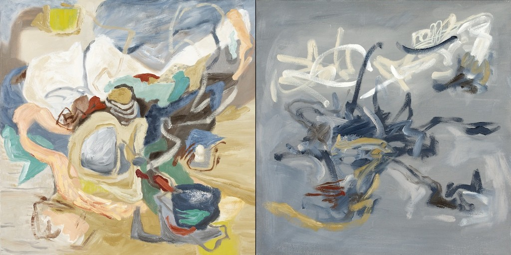 shift 3, oil on canvas, diptych, by contemporary artist barbra edwards, Pender Island