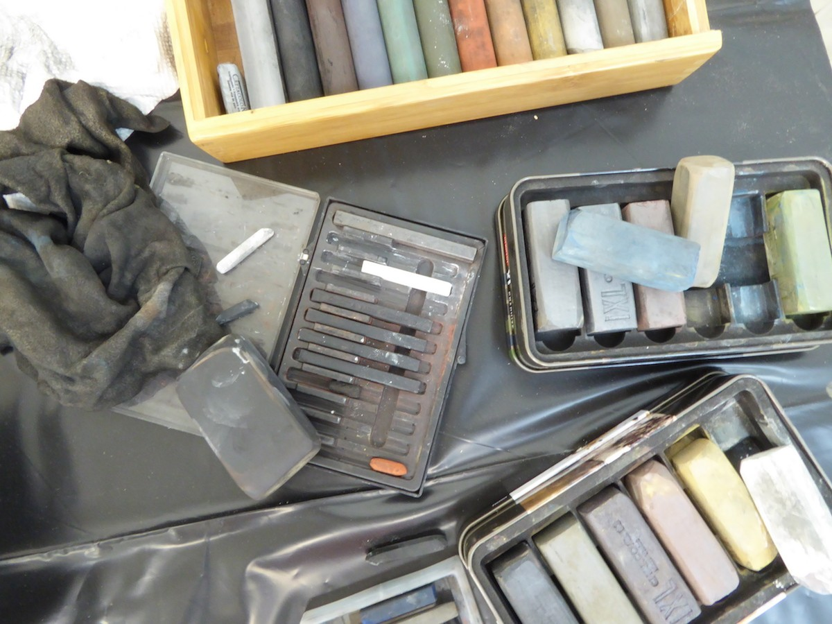 studio materials for drawing, painting Canadian abstract artist Barbra Edwards