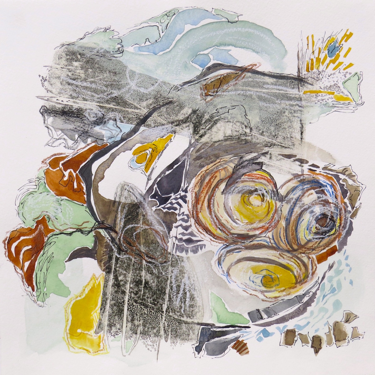 tidal bore, gouache, ink, coloured pencil, collage by Canadian contemporary artist barbra edwards