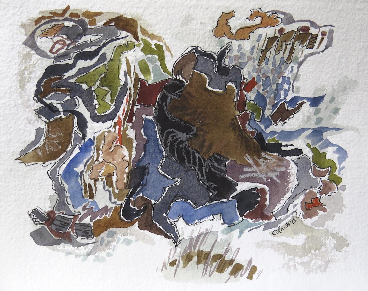 beach series 11, watercolour, gouache, ink, crayon, Canadian contemporary artist Barbra Edwards
