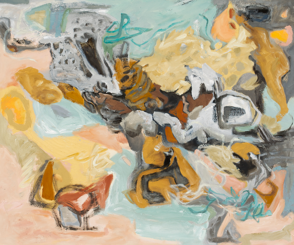 beachcombing (before the spill), oil/wax on panel by gulf islands contemporary artist barbra edwards