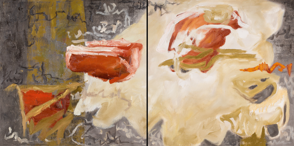 shift 2 diptych, oil on panel by Canadian contemporary artist Barbra Edwards, Gulf Islands