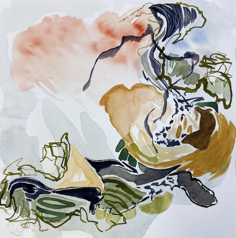 bluff breezes_watercolour_mixed media_by Canadian contemporary painter barbra edwards_Pender Island, BC