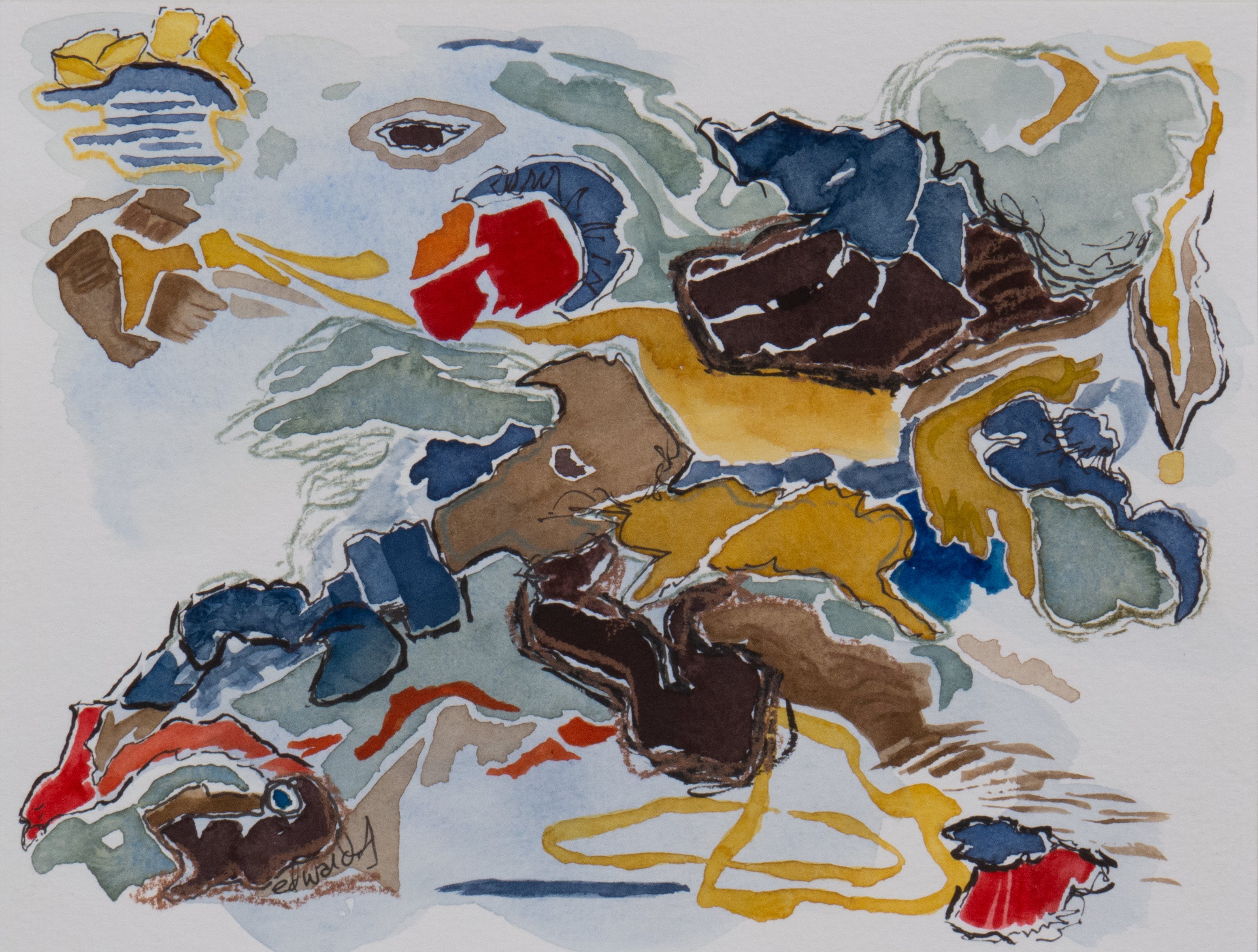 detritus (3) work on paper, gouache, contemporary art, abstracted landscape, Canadian artist barbra edwards, Pender Island, BC