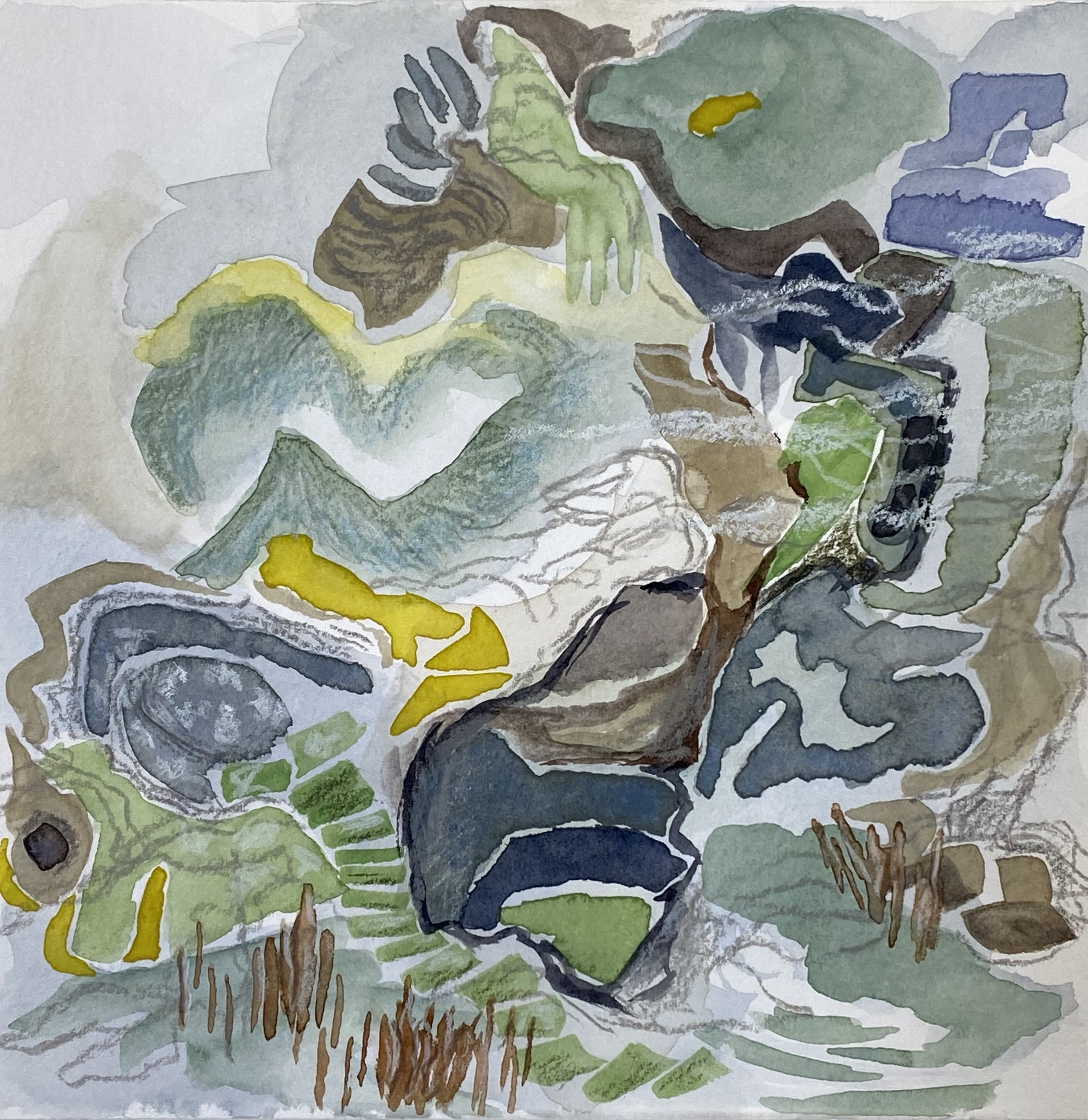 green with blue, work on paper, mixed media by Canadian abstract artist barbra edwards, Pender Island, BC