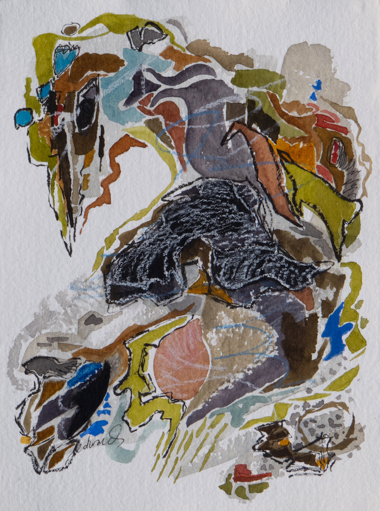 witness, work on paper, mixed media by Canadian contemporary artist barbra edwards Pender Island BC