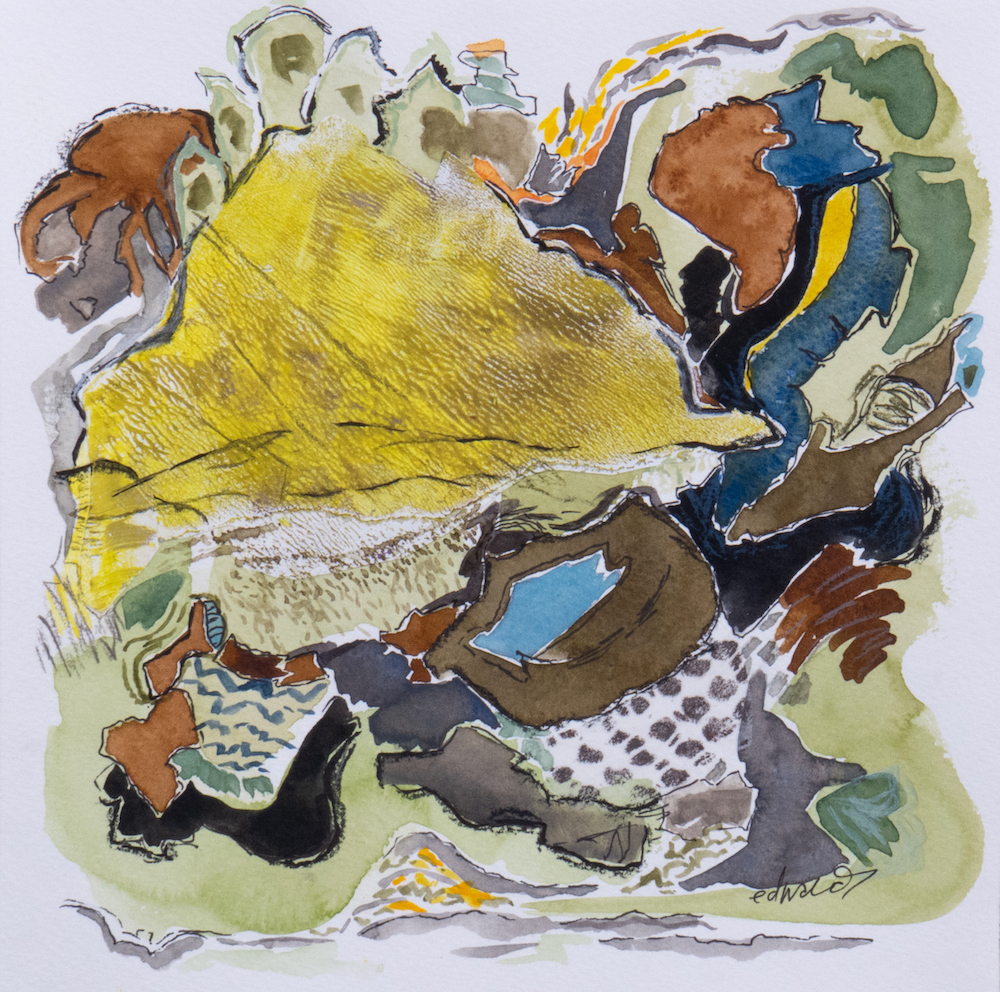 yellow cloud, mixed media watercolour by Canadian contemporary painter barbra edwards, Pender Island, BC