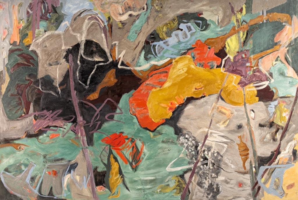 Grey Rhythm, oil painting by Pender Island contemporary artist barbra edwards