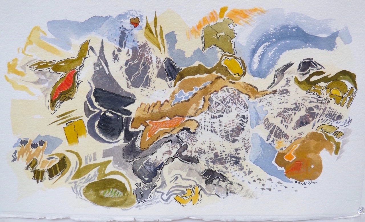 land and sea, watercolour painting by Canadian contemporary painter, Barbra Edwards, Gulf Islands