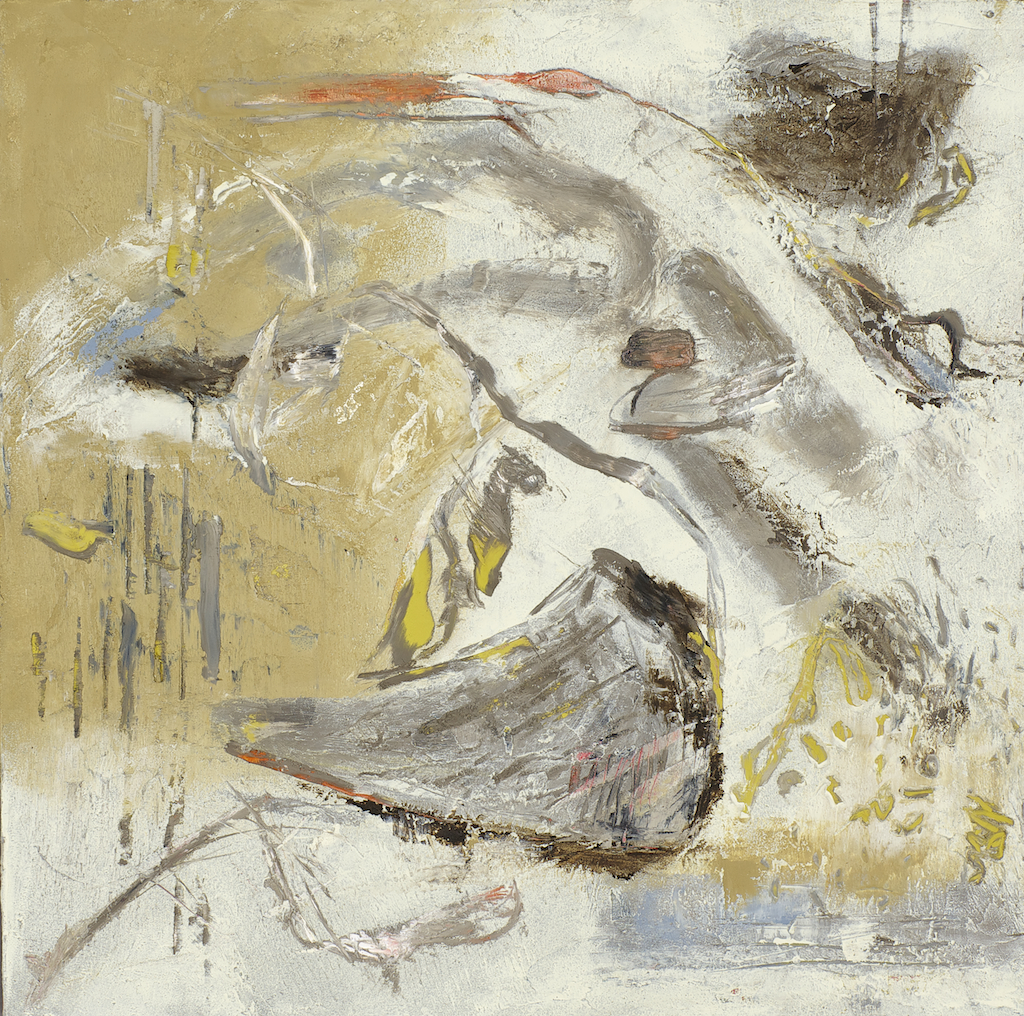 Nest by barbra edwards, Canadian abstract artist on Pender Island, BC,cold wax/oil