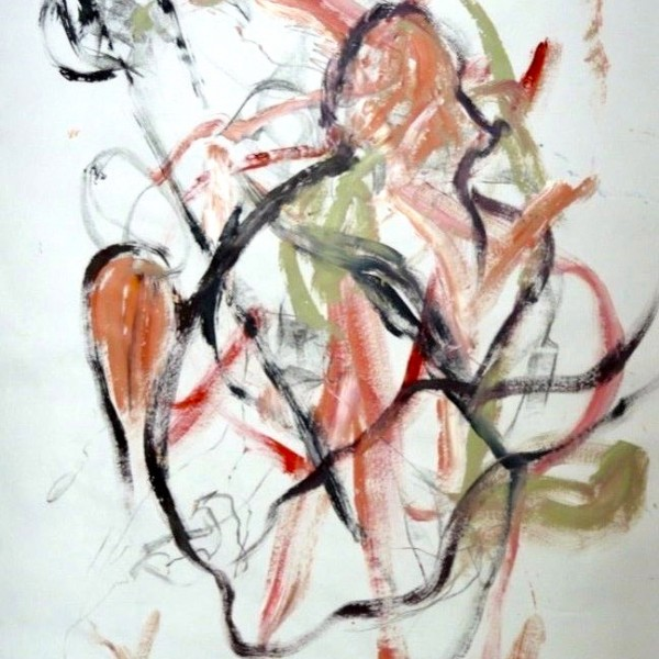 untitled gesture drawing #2, acrylic on paper, Canadian contemporary artist Barbra Edwards, Pender Island, BC