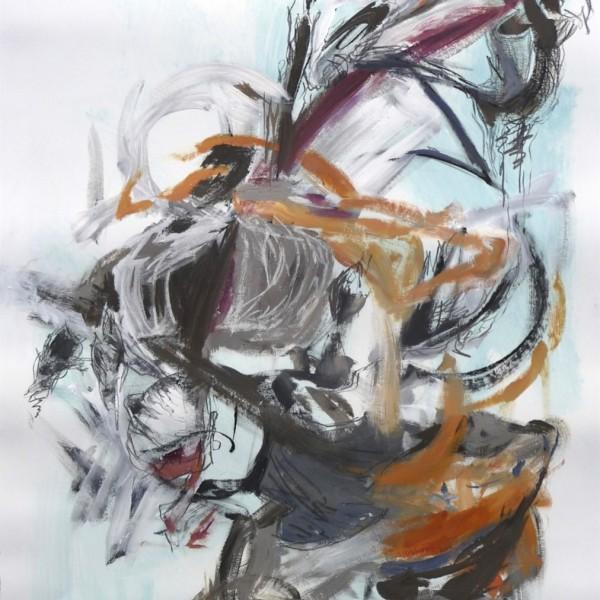gesture drawing #9, acrylic Canadian contemporary artist Barbra Edwards, Gulf Islands, BC
