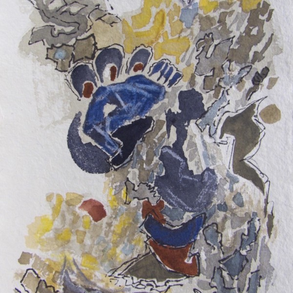 beach series 10, watercolour by Canadian abstract artist Barbra Edwards, Gulf Islands, BC