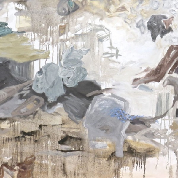 Canadian artist Barbra Edwards, oil painting detail of foraging for self, Pender Island