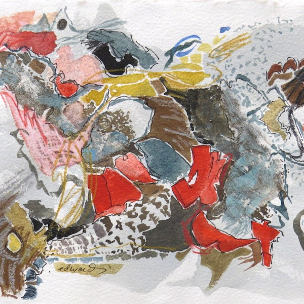 detritus, watercolour, collage by Canadian contemporary artist barbra edwards, Gulf Islands
