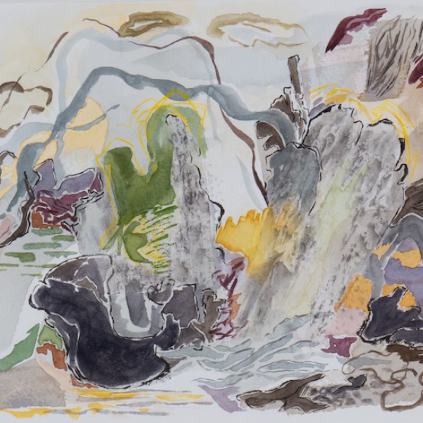 cloud and mist mixed media, work on paper by Canadian contemporary painter Barbra Edwards Pender Island BC