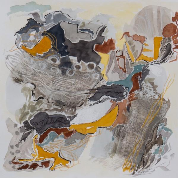 coastline (1) watercolour mixed media, by Canadian contemporary painter barbra edwards, Pender Island, BC
