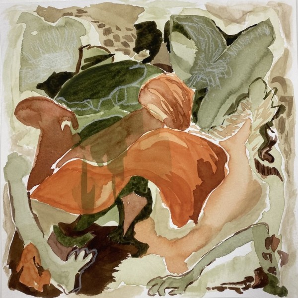 untitled (covid study 3) watercolour, mixed media, work on paper by Canadian contemporary painter barbra edwards Pender Island BC