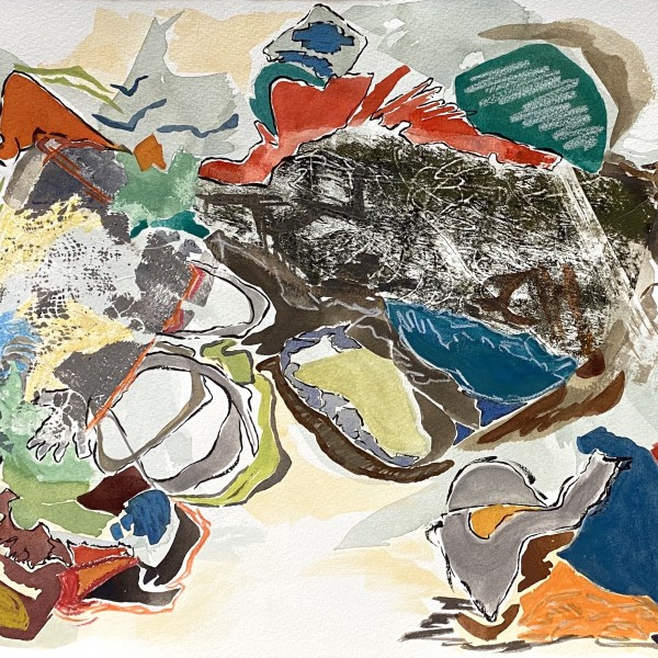 choose your circle 2 (Covid study)_watercolour_collage_by Canadian contemporary painter barbra edwards_Pender Island, BC