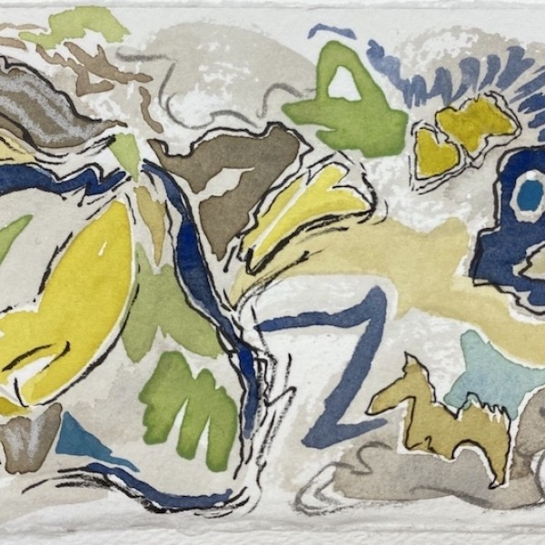 untitled (spring surfacing) watercolour and mixed media by Canadian contemporary painter Barbra Edwards, Gulf Islands, BC