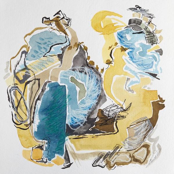 slow kick watercolour, mixed media by Canadian artist barbra edwards, Pender Island