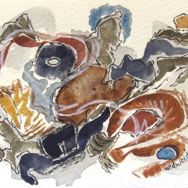 beach series 8, winter watercolour mixed media by Canadian contemporary artist barbra edwards Gulf Islands