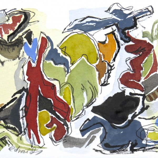 Will You Dance With Me, watercolour by Canadian abstract artist Barbra Edwards, Gulf Islands, BC