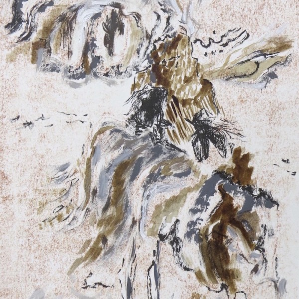 winged imprint 1 monoprint with mixed media by Canadian contemporary artist barbra edwards