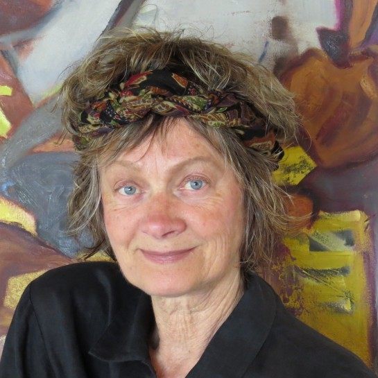 Canadian, contemporary artist barbra edwards in her studio on Pender Island, BC