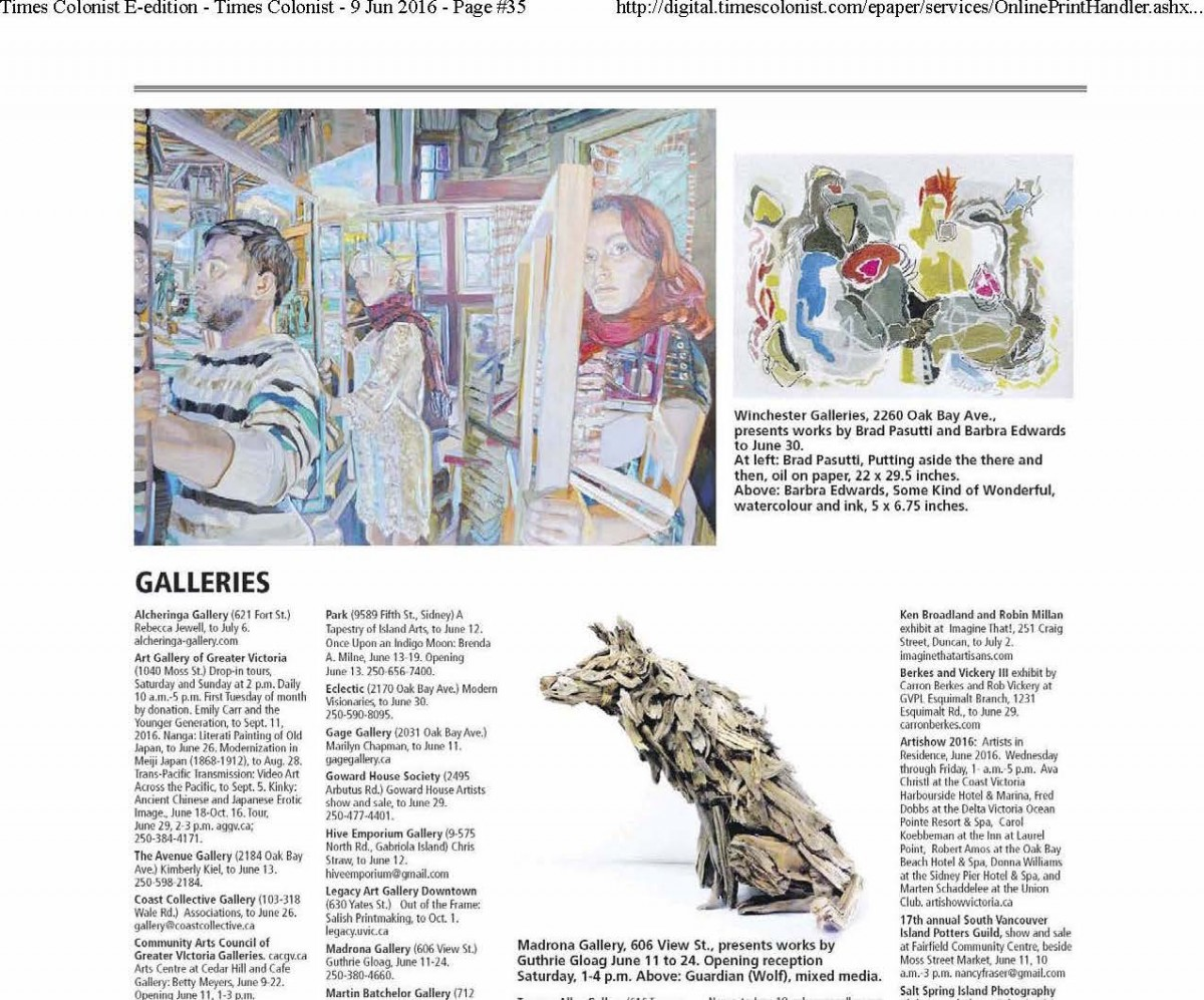 Times Colonist - Barbra Edwards exhibition at Winchester Galleries