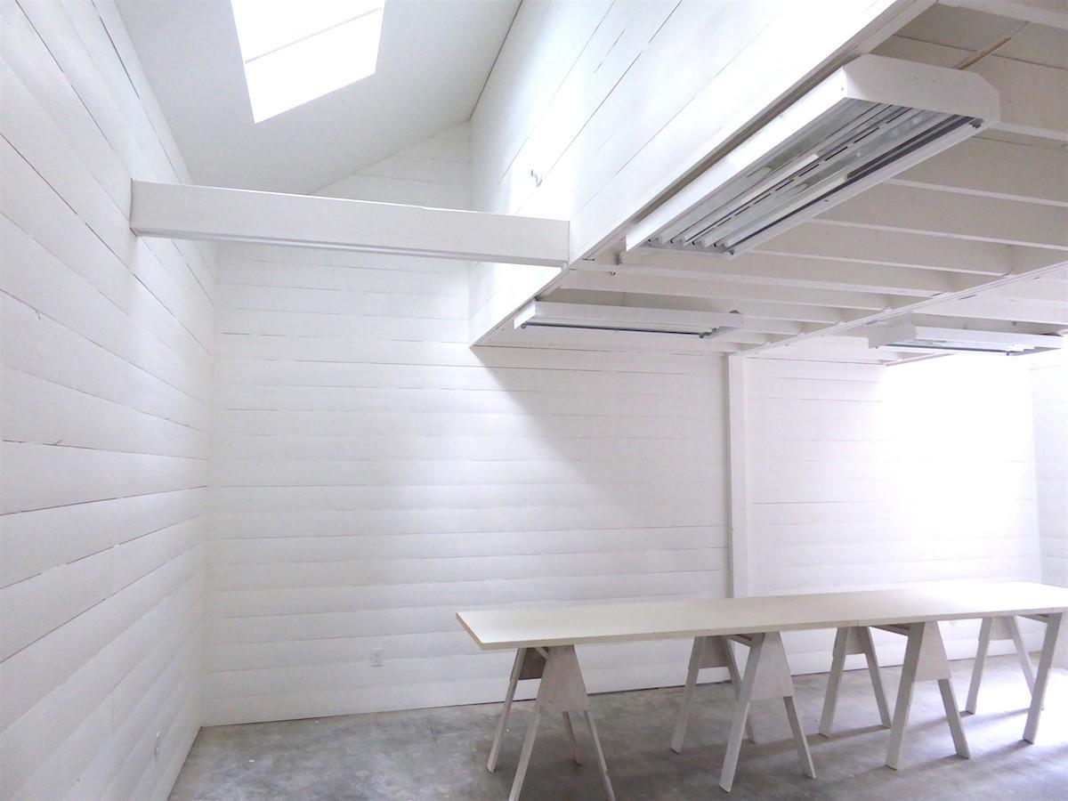 Residency studio space at Blue Horse Gallery, Salt Spring Island, Canadian contemporary artist Barbra Edwards