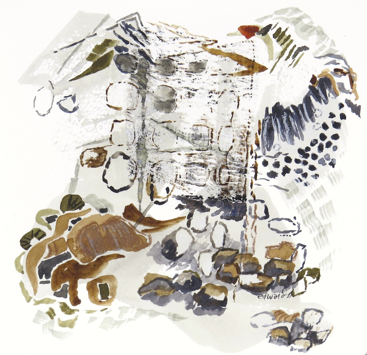 a flicker came by, watercolour with mixed media, Canadian contemporary artist barbra edwards from the Gulf Islands