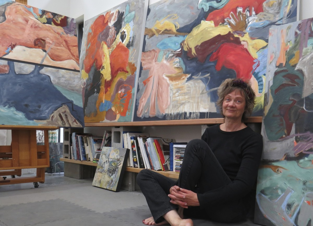 Canadain artist barbra edwards in her Pender Island studio
