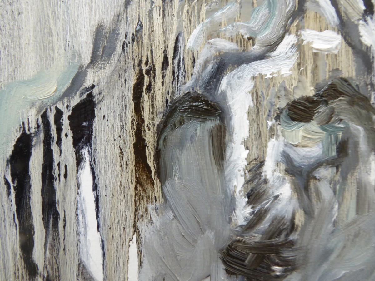 detail of work in process, barbra edward's studio, oil painting, Canadian contmporary painter, Gulf Islands