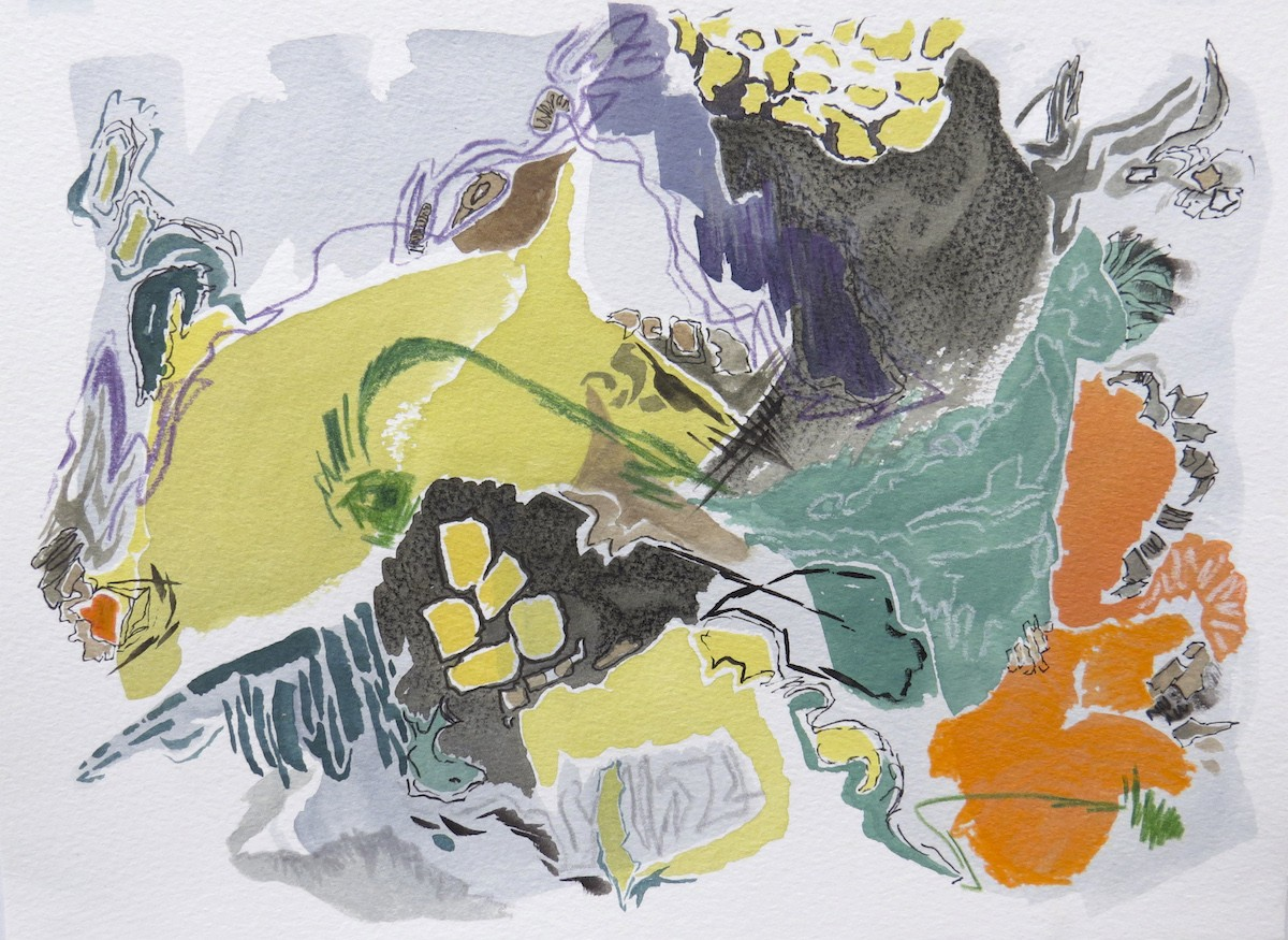 undercurrent, watercolour, mixed media, work on paper, by Canadian contemporary artist Barbra Edwards, Pender Island, BC