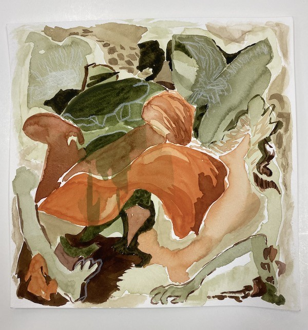 untitled watercolour study (covid paintings) Canadian painter barbra edwards Pender Island, BC