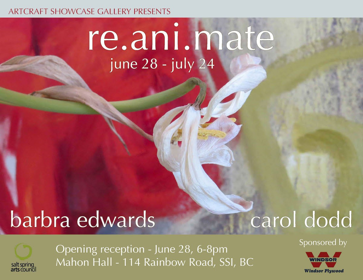re.ani.mate poster barbra edwards exhibition at showcase gallery salt spring island, BC