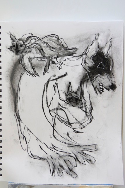 daily sketching in the studio at Blue Horse on Salt Spring Canadain contemporary artist barbra edwards